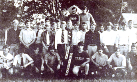 The Fall 1970 pledge class pictured outside the Pi Kappa Phi house on Greek Hill.