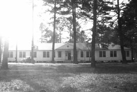 Beta Omicron Chapter's first chapter house, the former 'C Frame' dormitory on the Northwestern State campus.