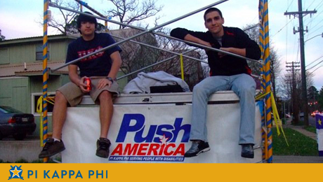 Pi Kapps raise awareness for Push America by sitting on scaffold