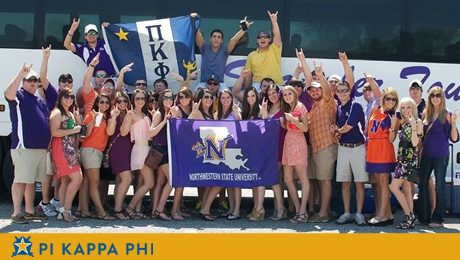 Pi Kappa Phi Fraternity charters bus to support NSU Demons in game against LSU