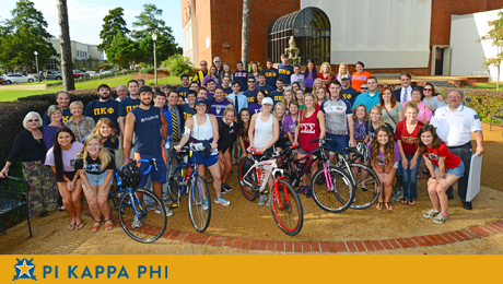 Pi Kappa Phi, Sigma Sigma Sigma cycle to raise money for scholarships