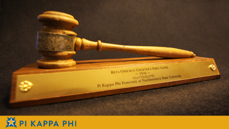Beta Omicron's first gavel located, now on display at chapter house
